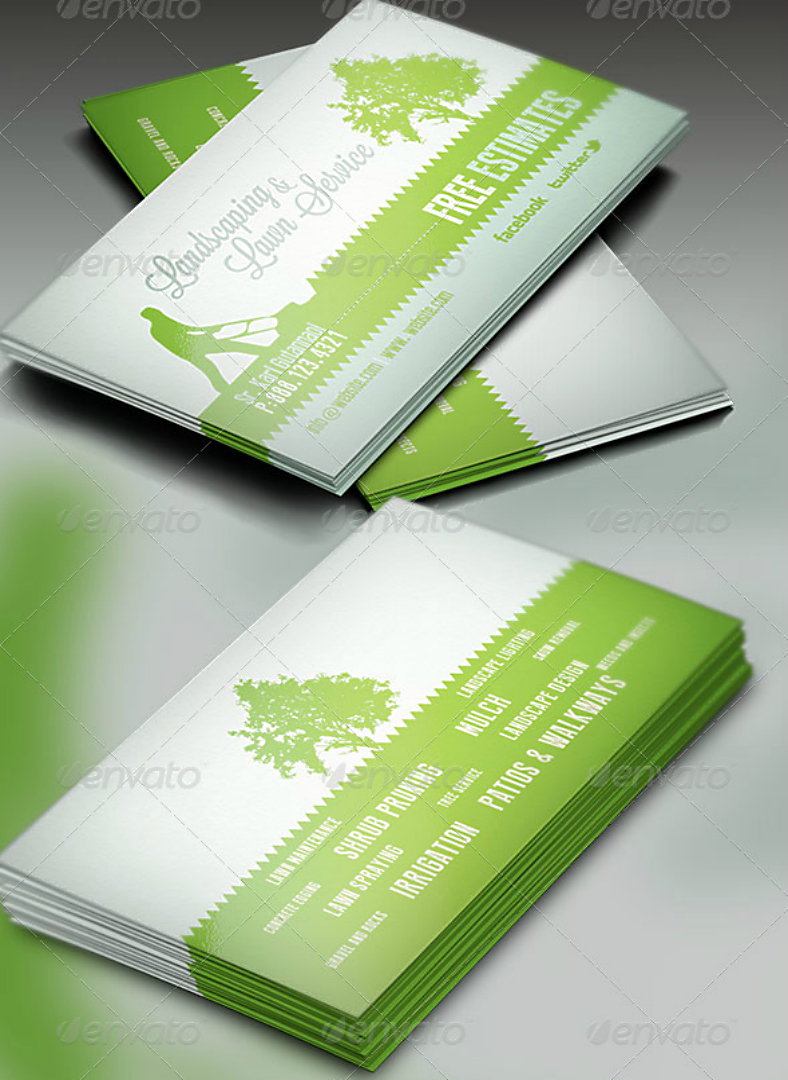 15+ Landscaping Business Card Templates – Word, Psd   Free With Gardening Business Cards Templates