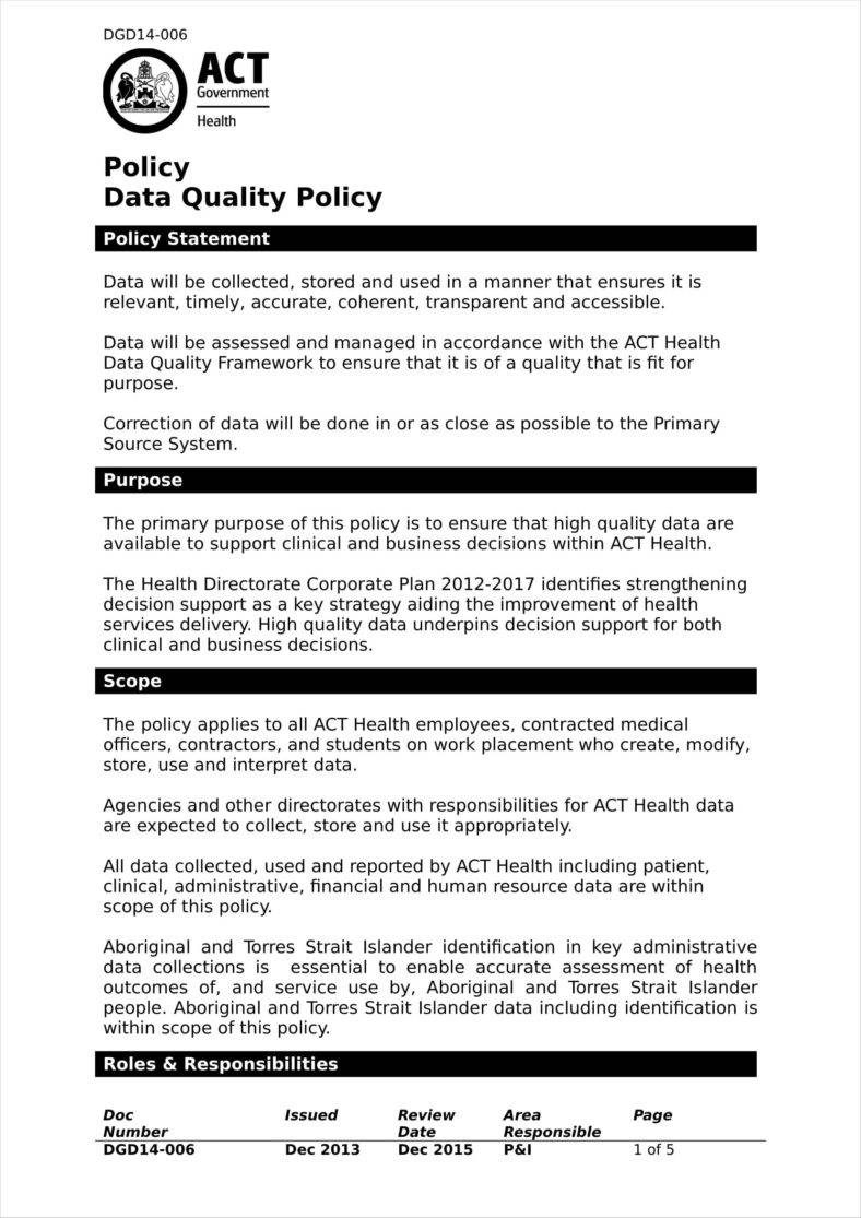 26+ Policy Template Samples - Free Pdf, Word Format Download With Health And Safety Policy Template For Small Business