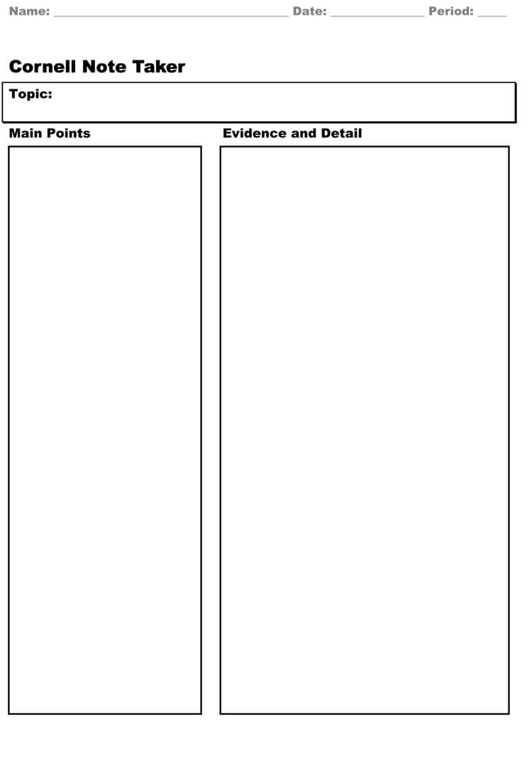 40 Free Cornell Note Templates (With Cornell Note Taking Regarding Note Taking Word Template