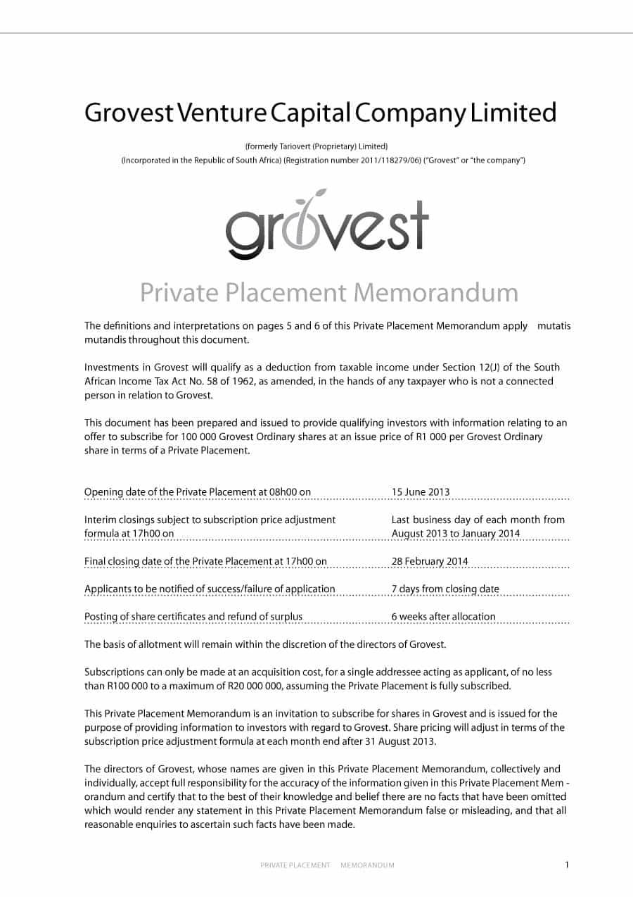 40 Private Placement Memorandum Templates [Word, Pdf] Inside Memo Template Word 2013