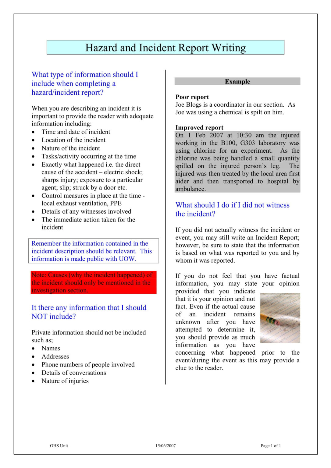 9+ Incident Report Writing Examples - Pdf | Examples ...