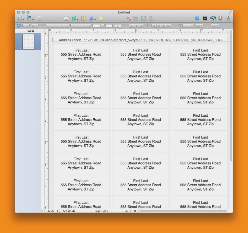 Address Labels In Pages – Colona.rsd7 Throughout Label Template For Pages