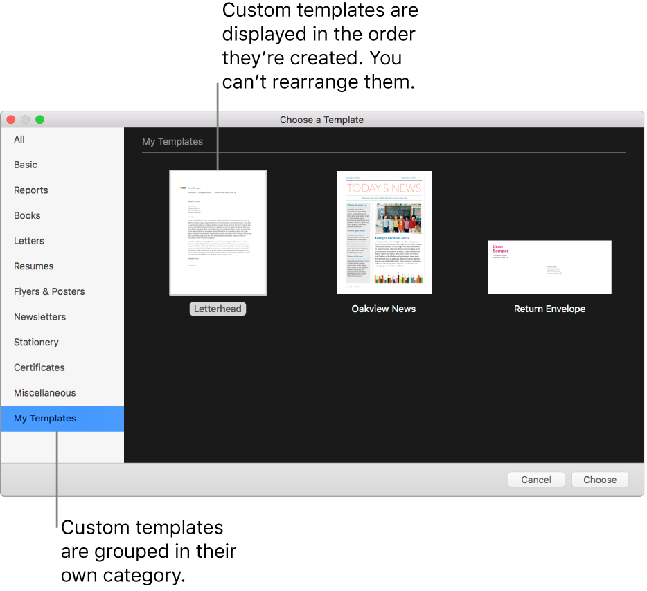 Create A Custom Template In Pages On Mac – Apple Support Throughout Label Template For Pages