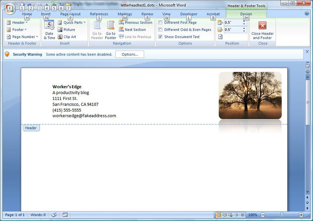 Create A Letterhead Template In Microsoft Word - Cnet With How To Create A Letterhead Template In Word