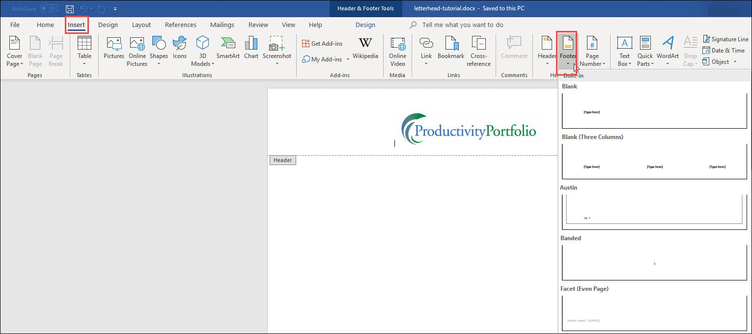 Create A Word Letterhead Template   Productivity Portfolio Intended For How To Create A Letterhead Template In Word