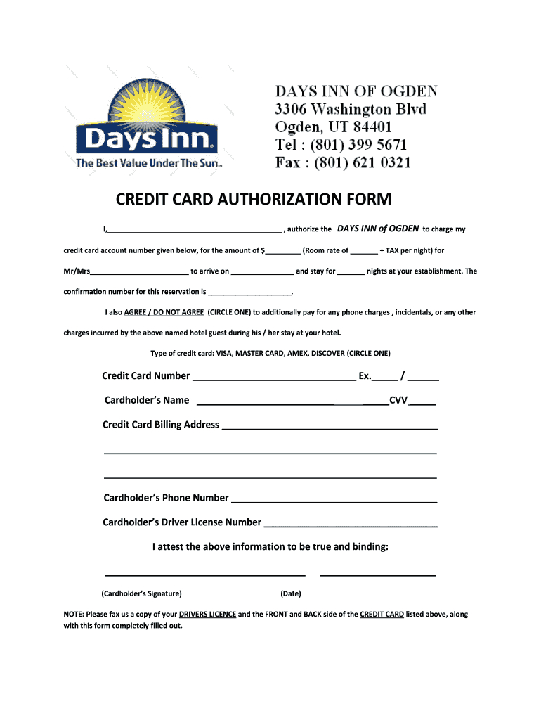 Credit Card Authorization Form - Fill Online, Printable With Regard To Hotel Credit Card Authorization Form Template