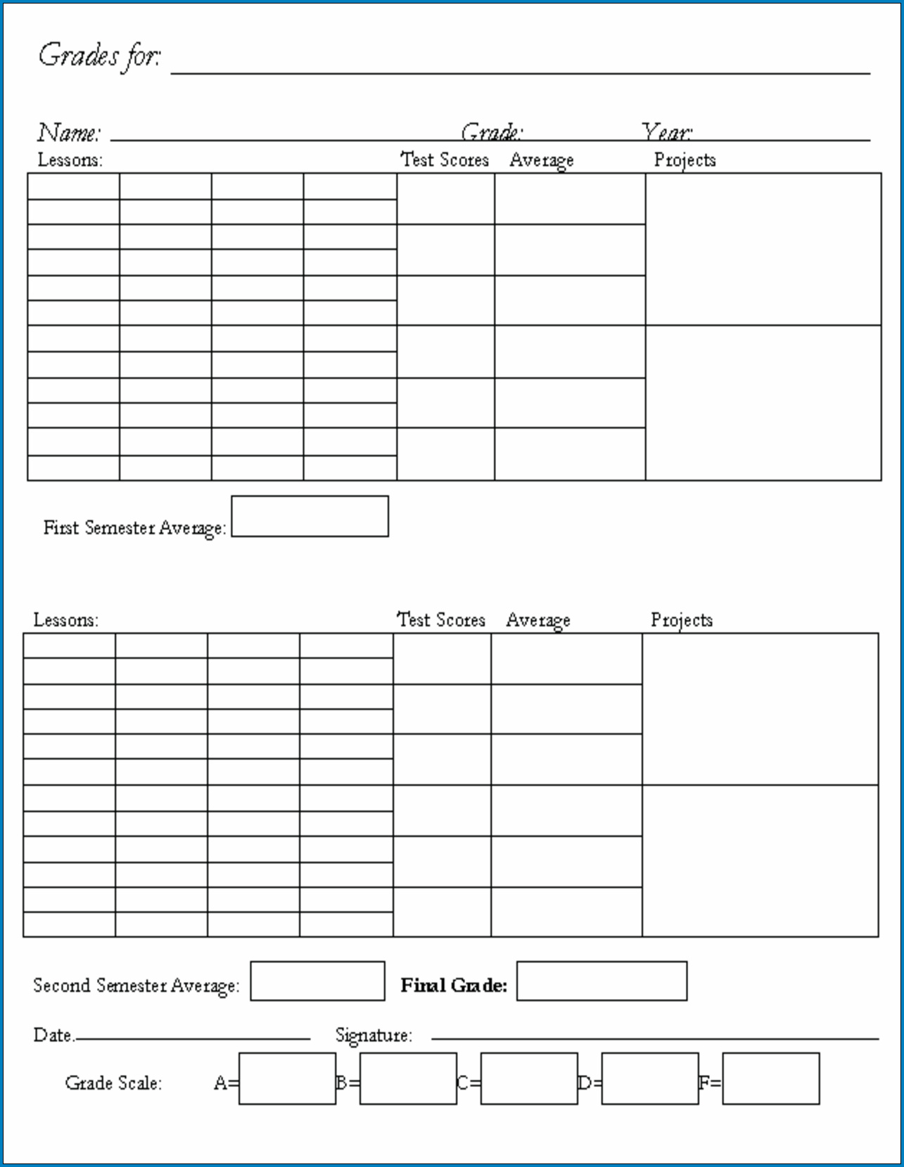 √ Free Printable Homeschool Report Card Template | Templateral Inside Homeschool Report Card Template Middle School