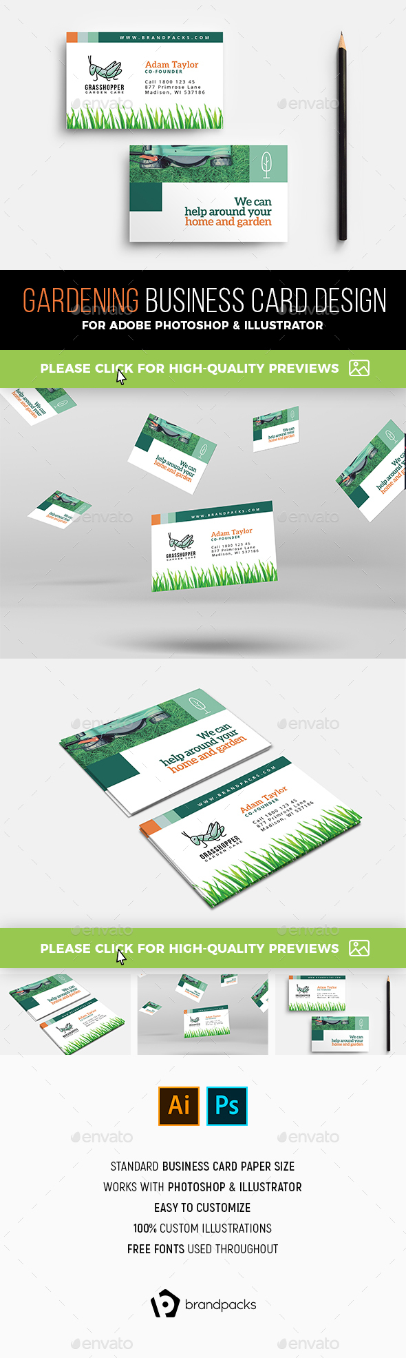 Gardening Business Card Templates & Designs From Graphicriver Throughout Gardening Business Cards Templates