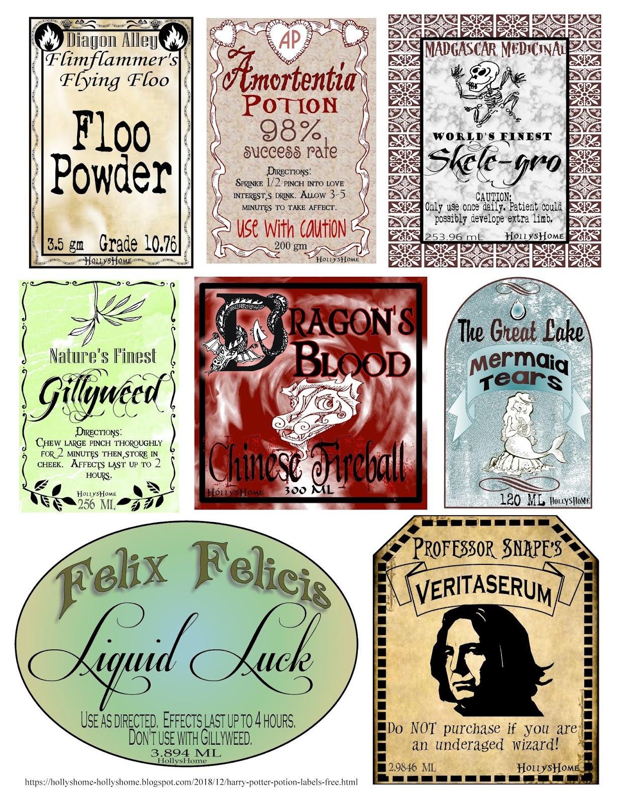 Hollyshome Family Life: Harry Potter Potion Labels Free Inside Harry Potter Potion Labels Templates
