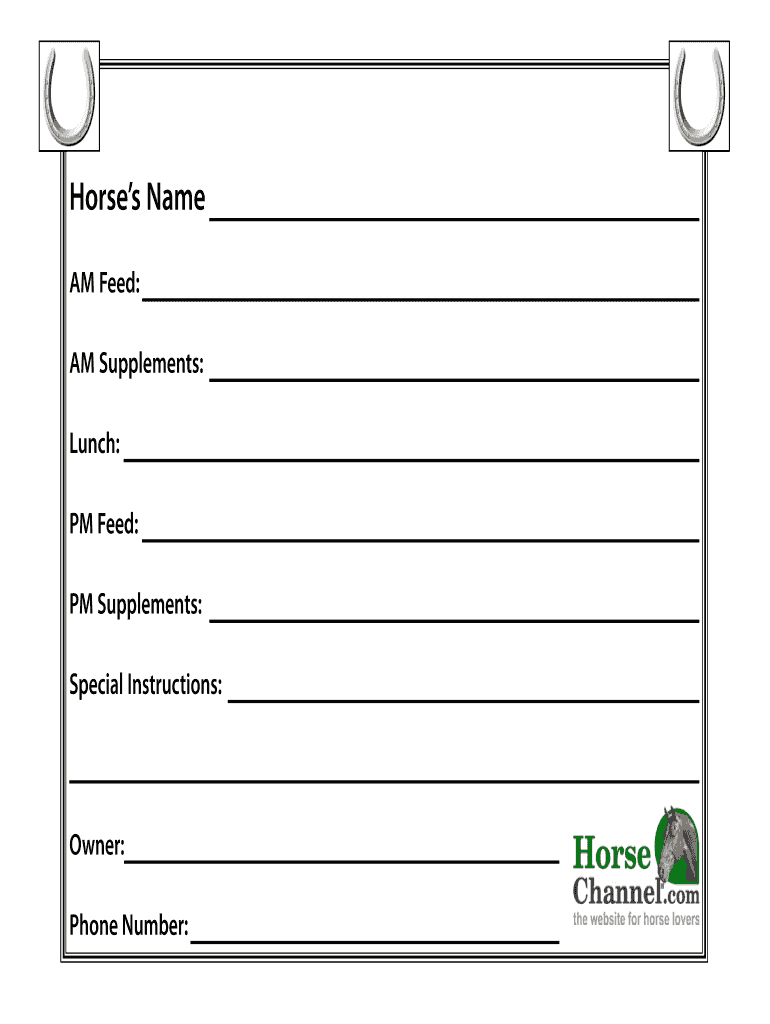 Horse Stall Cards Templates - Fill Online, Printable With Horse Stall Card Template