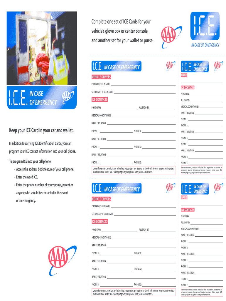 Ice Cards - Fill Online, Printable, Fillable, Blank | Pdffiller For In Case Of Emergency Card Template