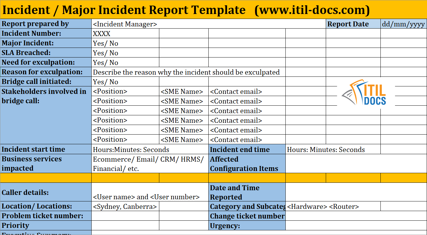 Incident Report Template | Major Incident Management – Itil Docs Throughout Itil Incident Report Form Template