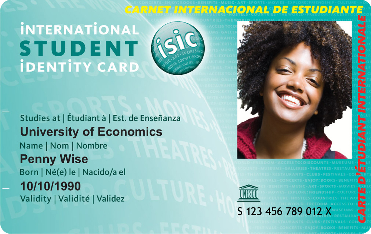 International Student Card With Isic Card Template