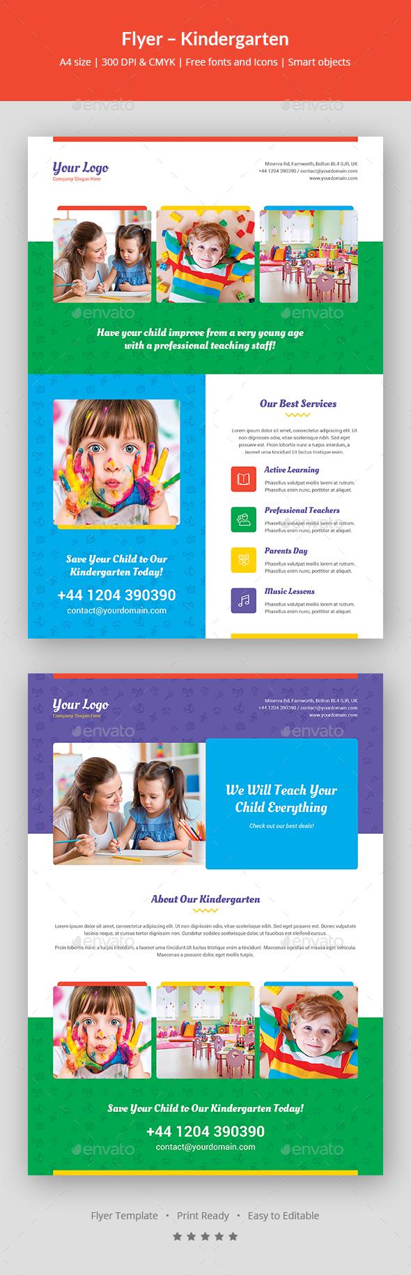 Kindergarten Flyer Graphics, Designs & Templates With Regard To Kindergarten Flyer Template