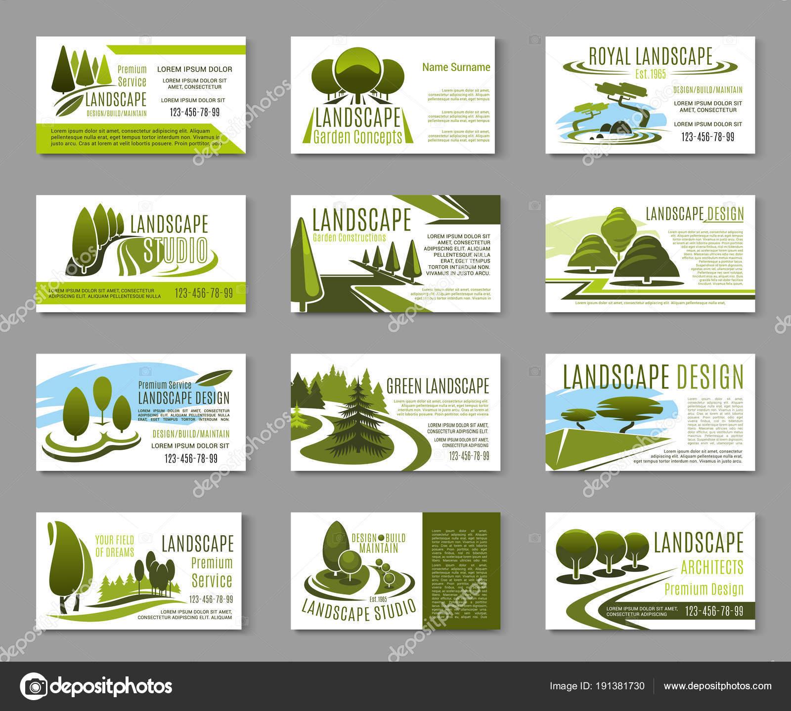 Landscape Design Business Cards   Landscape Design Studio With Gardening Business Cards Templates