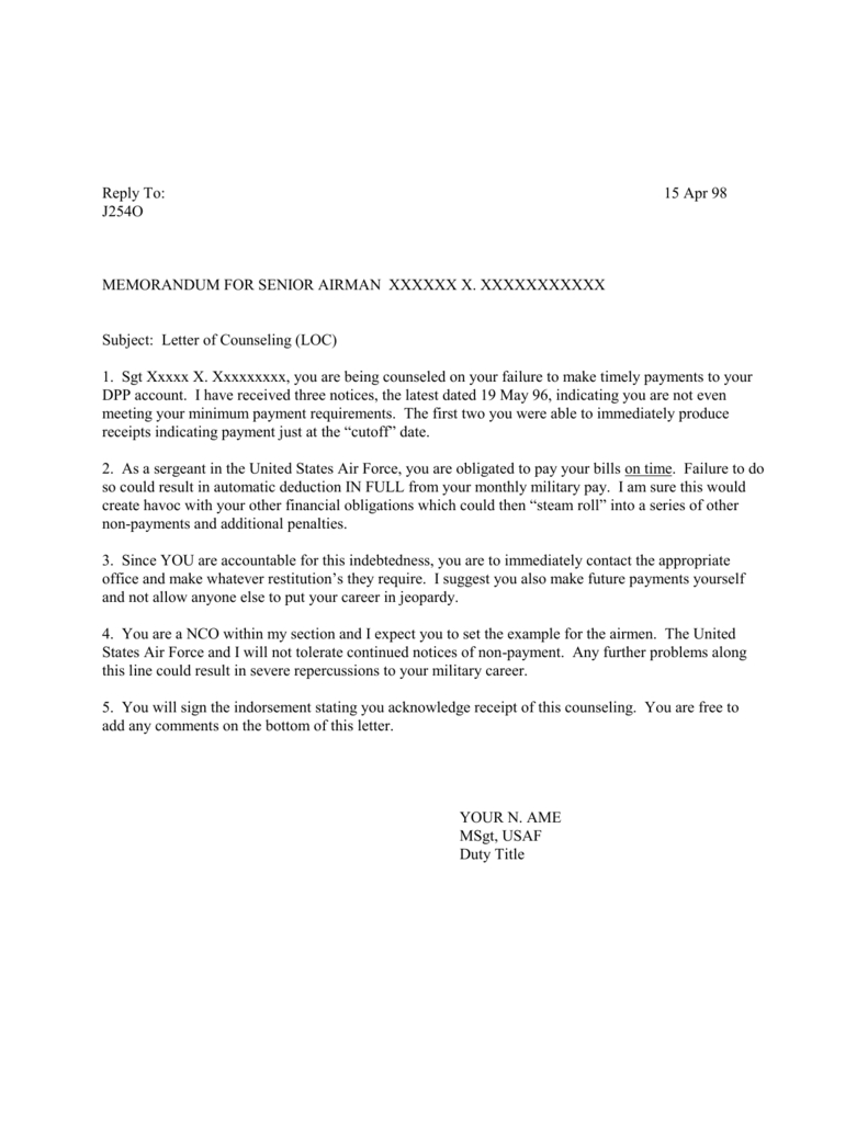 Letter Of Counseling Example Inside Letter Of Counseling Template