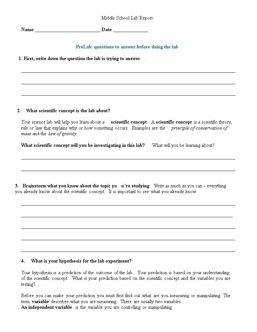 Middle School Lab Report | Templates At Within Lab Report Template Middle School