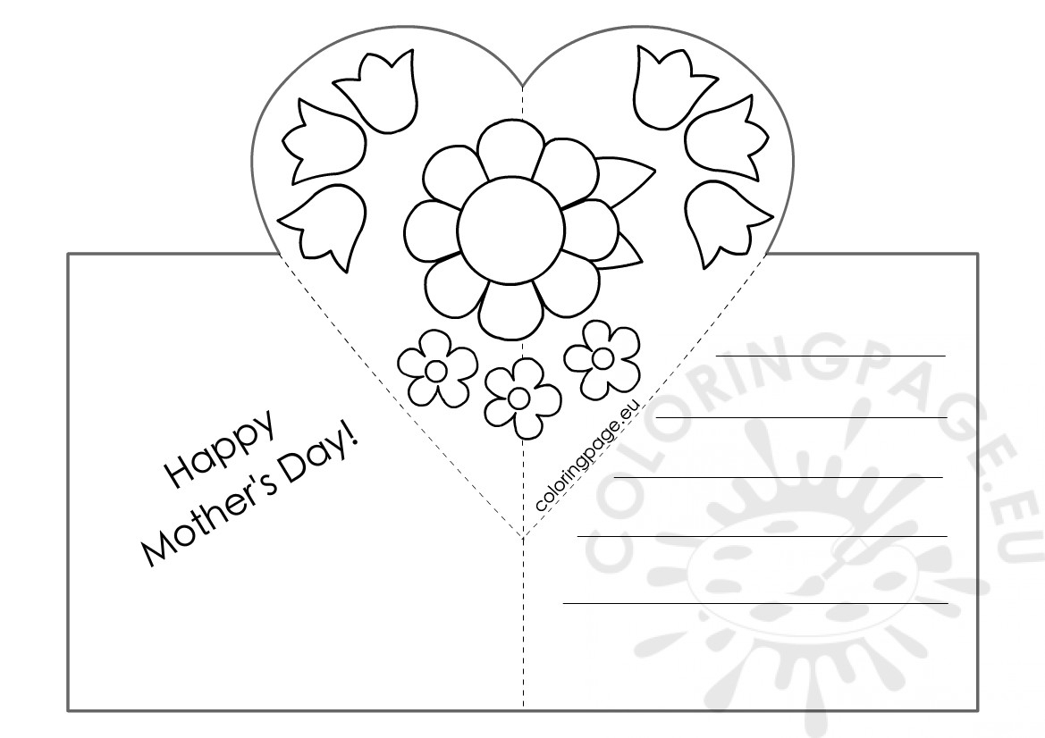 Mothers Day Card With Heart Pop Up Template – Coloring Page Pertaining To Mothers Day Card Templates