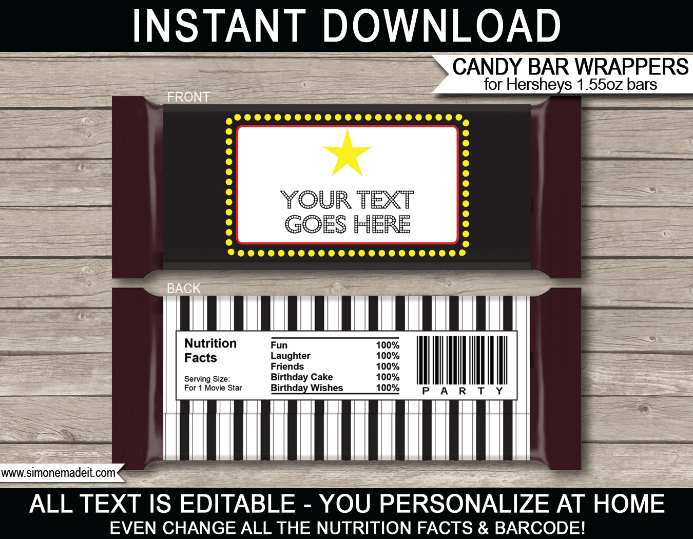Movie Hershey Candy Bar Wrappers Template Intended For Hershey Labels Template