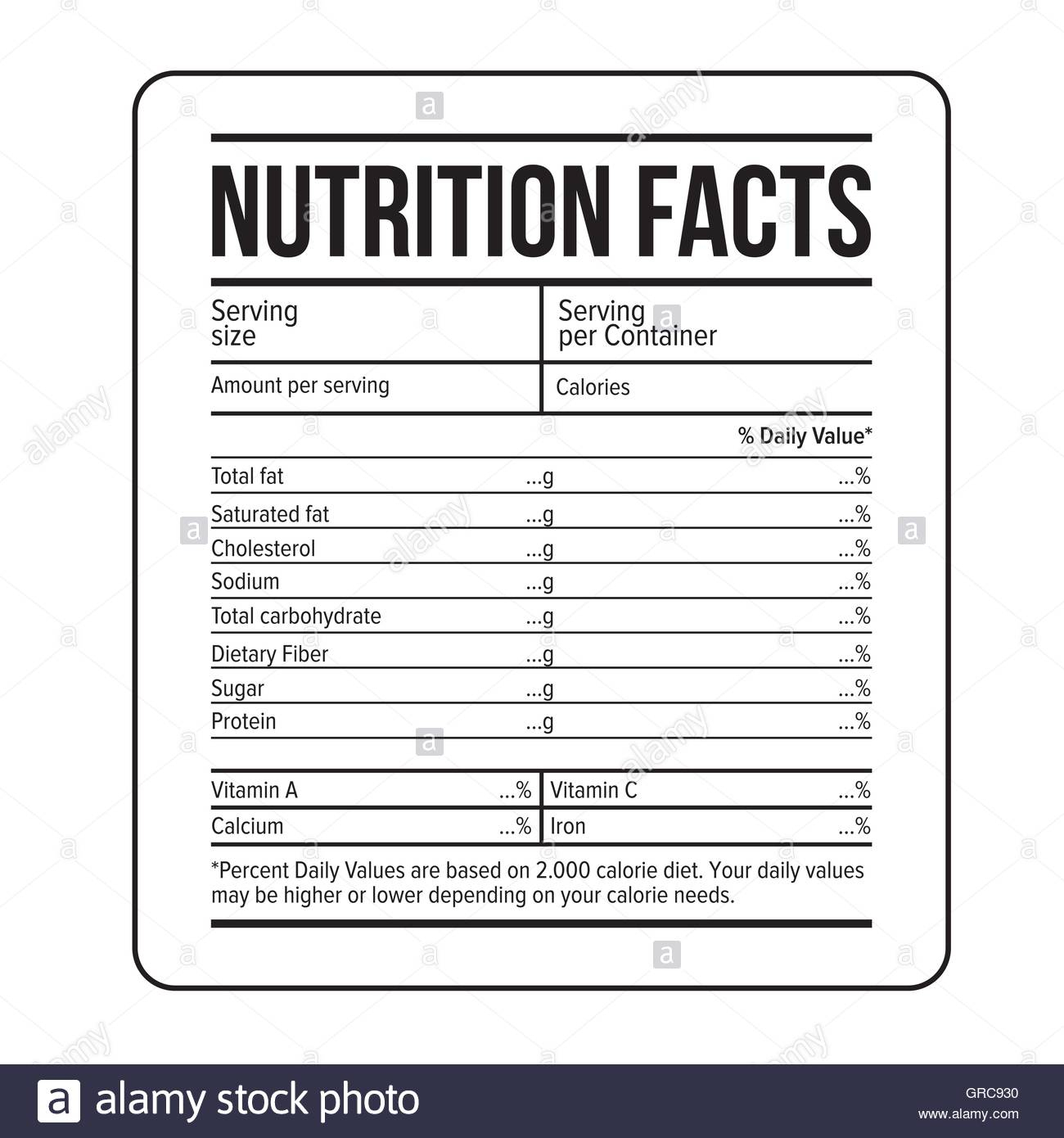Nutrition Facts Label Template Vector Stock Vector Art For Ingredient Label Template