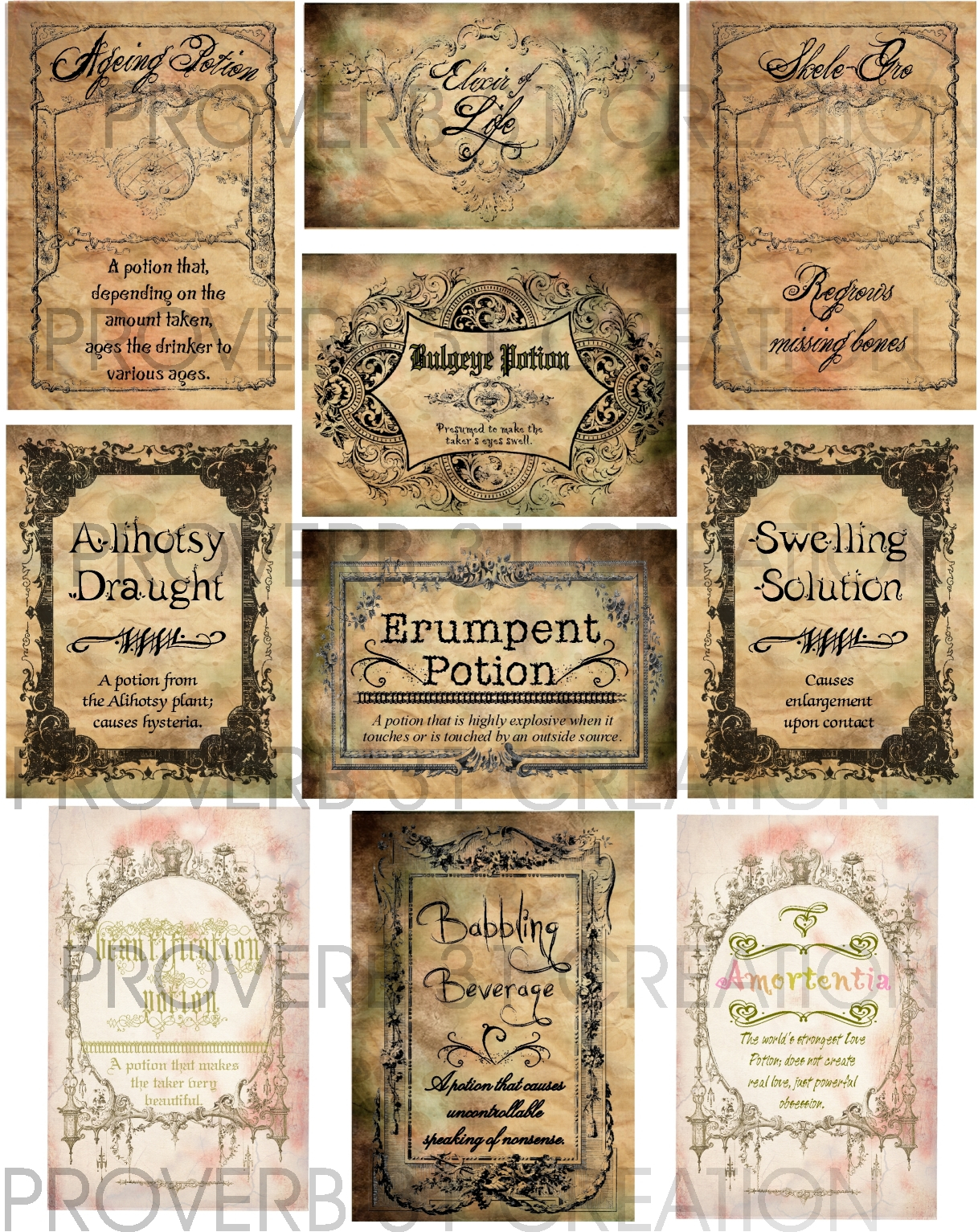 Potion Labels – Water Walker Events – Design – Planning With Harry Potter Potion Labels Templates