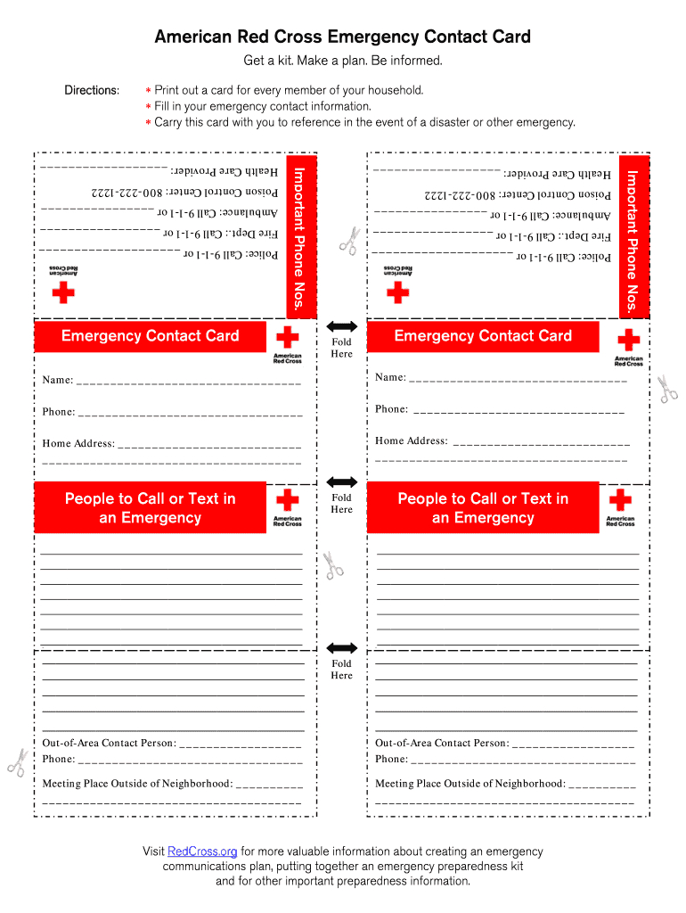 Printable Emergency Card Template - Fill Online, Printable Inside In Case Of Emergency Card Template