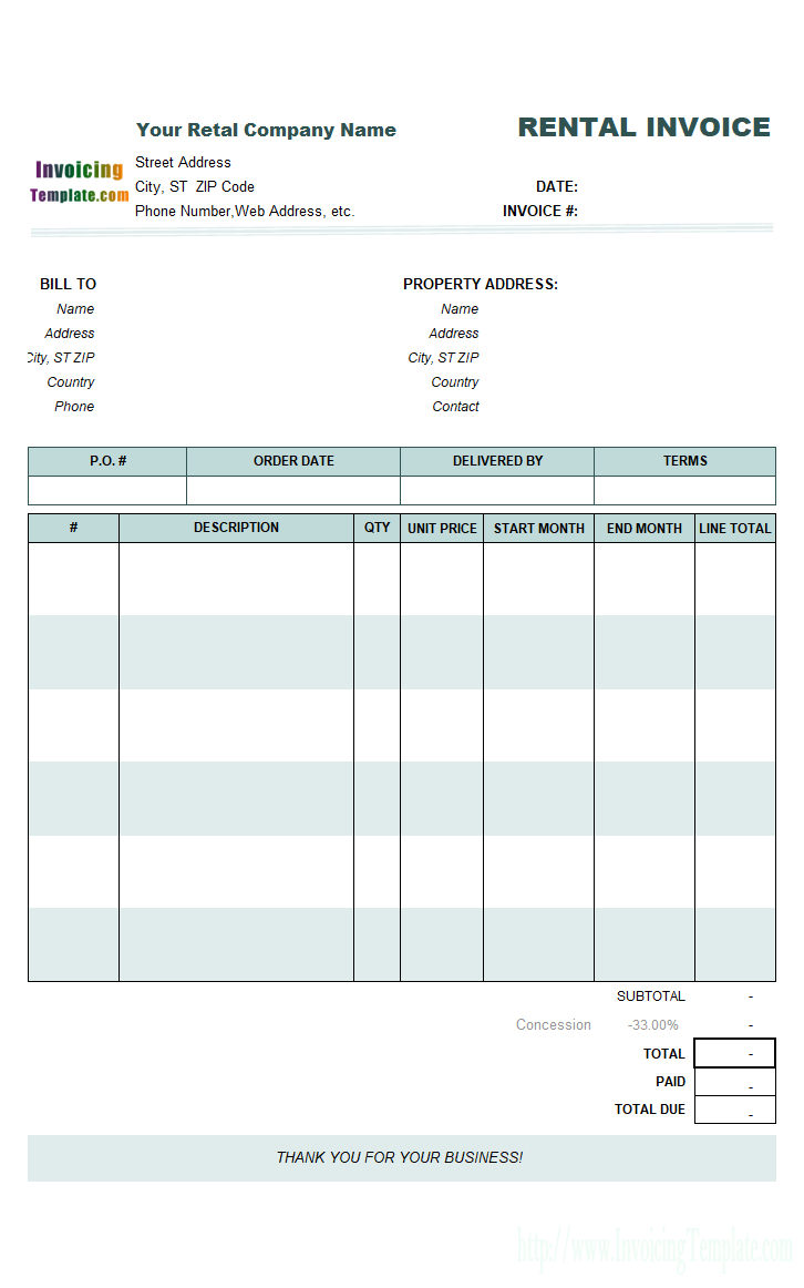 Rental Invoicing Template With Monthly Rent Invoice Template