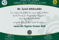 Sample Certificates - Lean Six Sigma India with regard to Green Belt Certificate Template