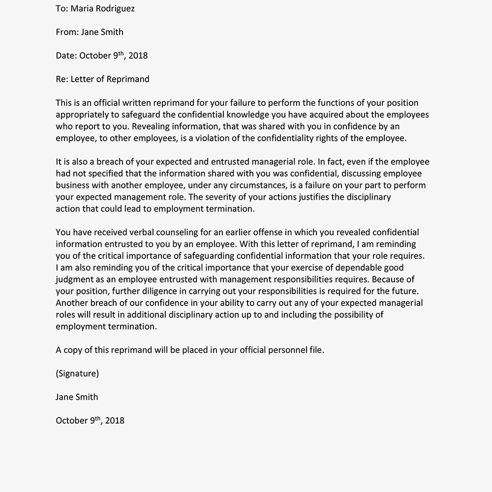Sample Letters Of Reprimand For Employee Performance With Regard To Letter Of Reprimand Template
