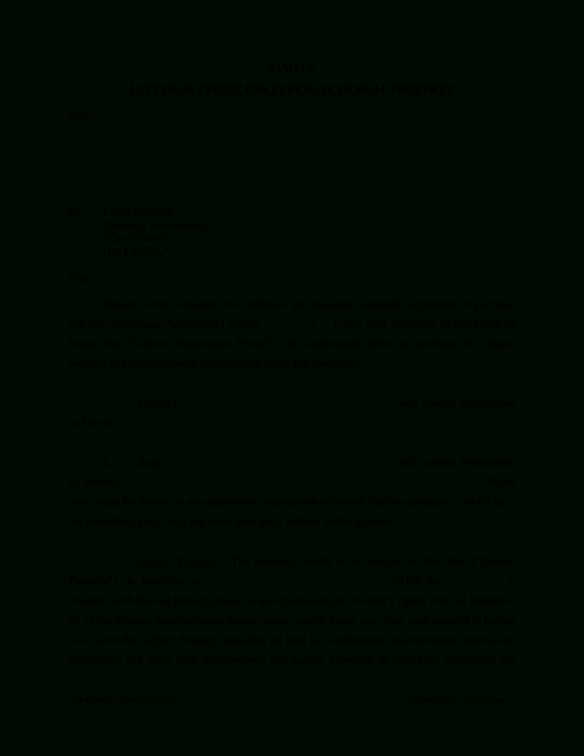 Simple Letter Of Intent For Purchase | Templates At With Letter Of Intent For Real Estate Purchase Template