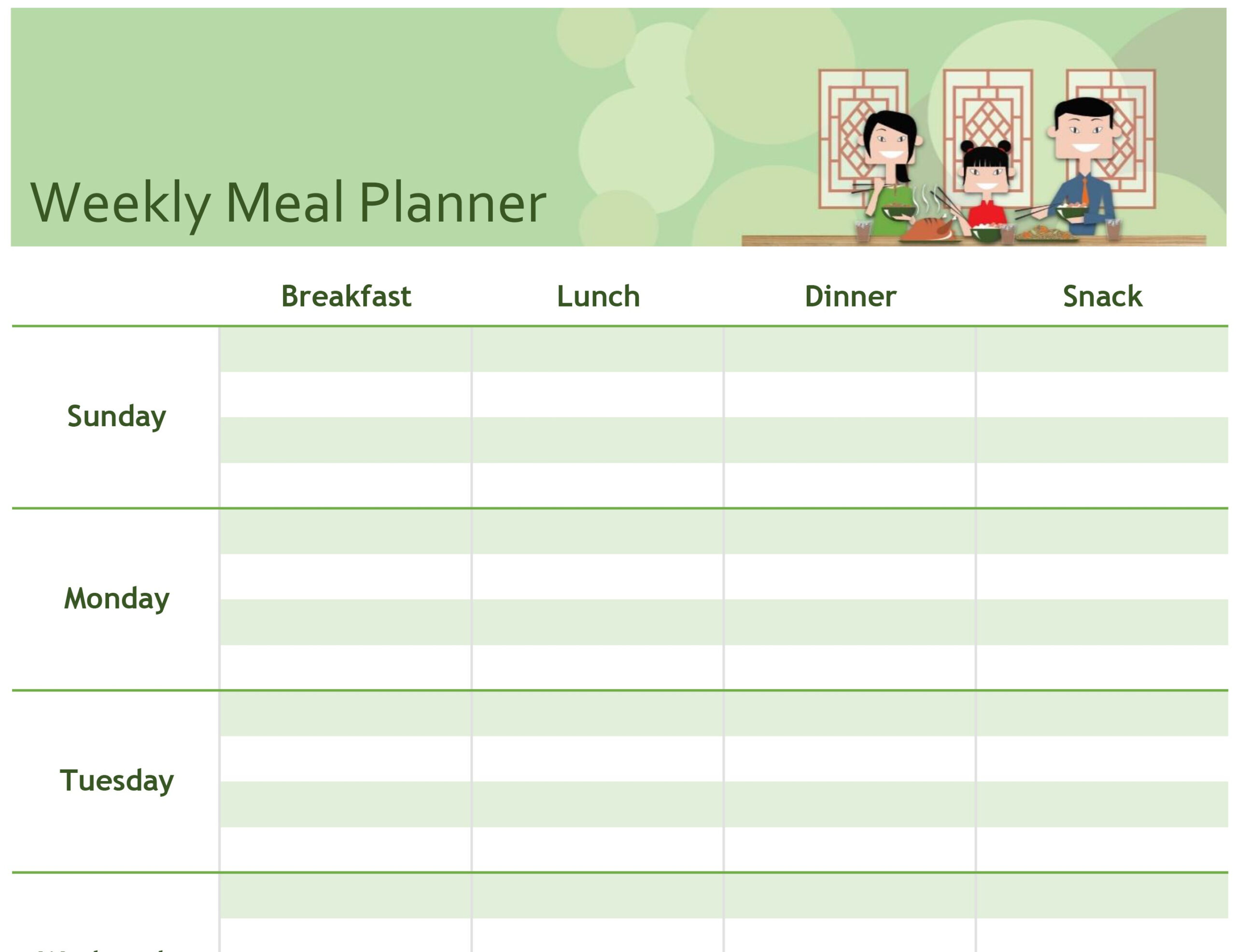 Simple Meal Planner Within Menu Schedule Template
