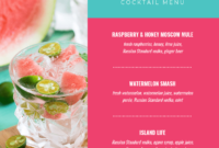 Summer Cocktail Menu Template intended for Happy Hour Menu Template