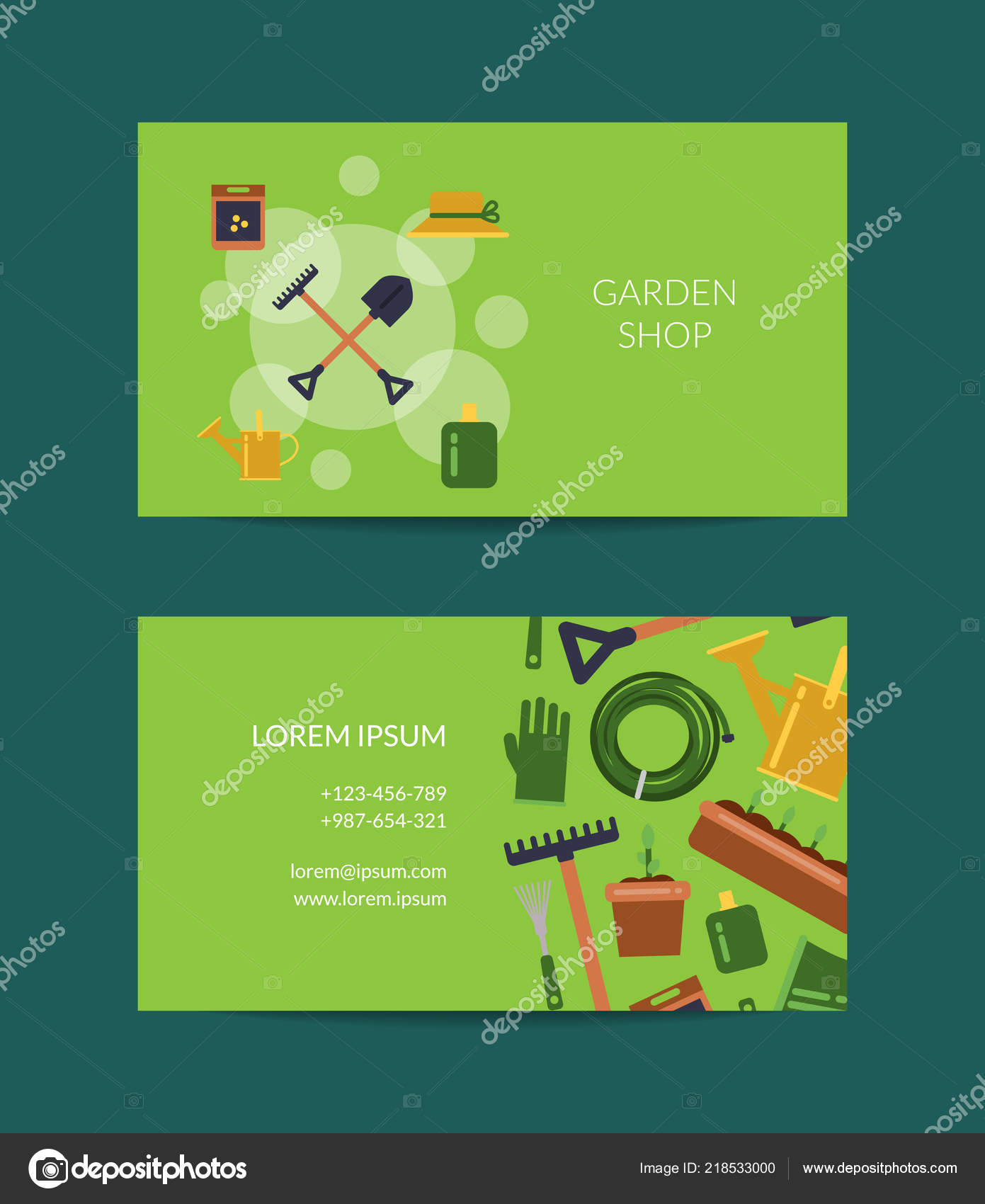 Vector Flat Gardening Icons Business Card — Stock Vector Pertaining To Gardening Business Cards Templates