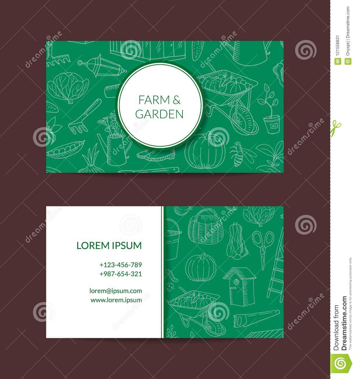 Vector Gardening Doodle Icons Business Card Stock Vector Pertaining To Gardening Business Cards Templates